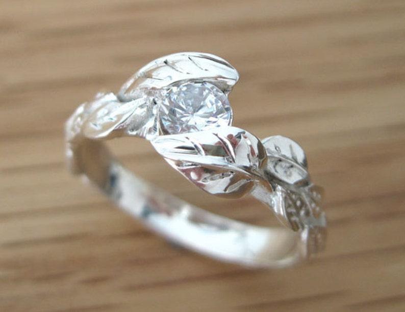 Leaf Diamond Engagement Ring Engagement Leaf Ring Leaves image 0