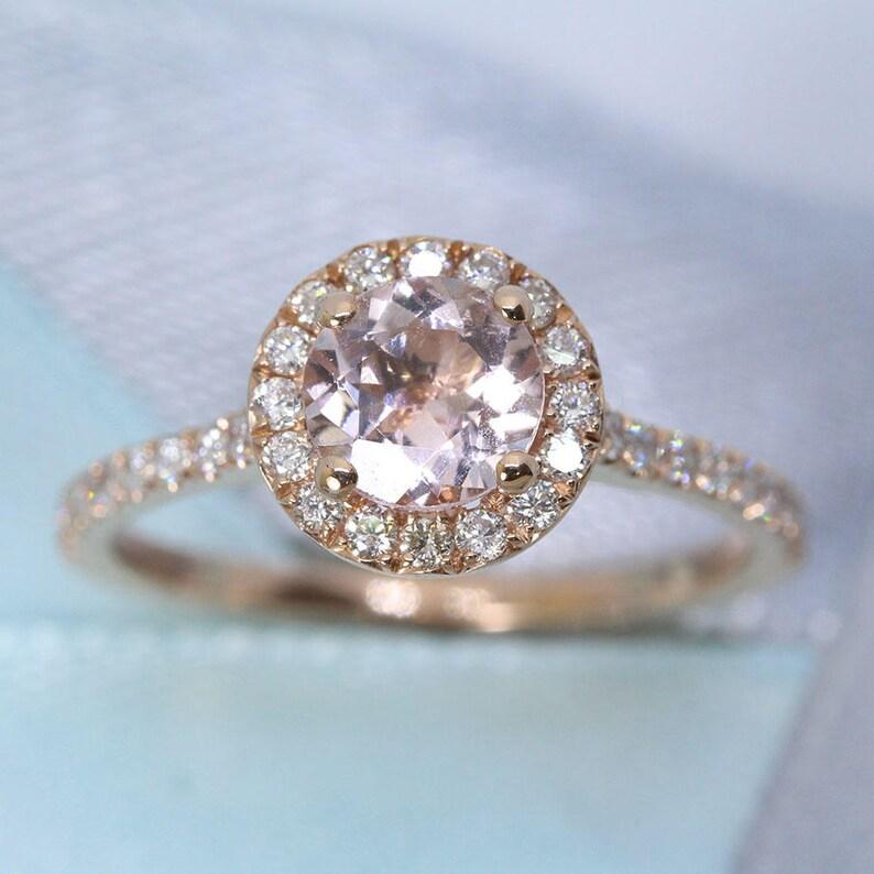Rose Gold Engagement Ring Morganite Rose Gold Ring Diamond image 0