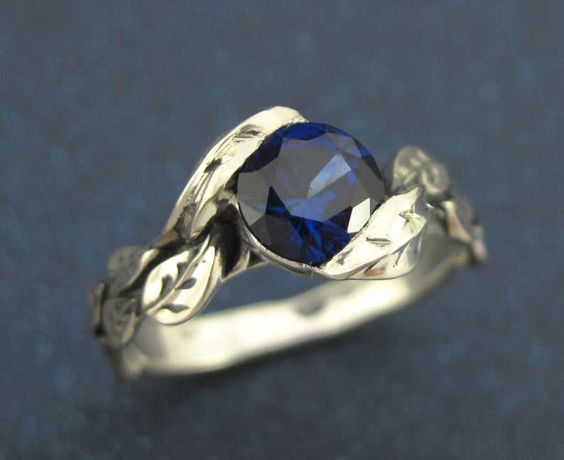 Forest Leaves Ring Leaf Ring With Sapphire Silver Friendship Sapphire Promise Ring Nature Leaves Ring Sapphire Ring Leaf Sapphire Ring