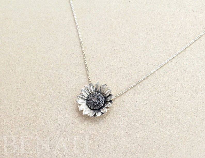 Benati Nature Jewelry Mothers Day Gift Nature Lover Gift Flower Charm Necklace Sunflower Pendant Necklace For Women Sunflower Jewelry