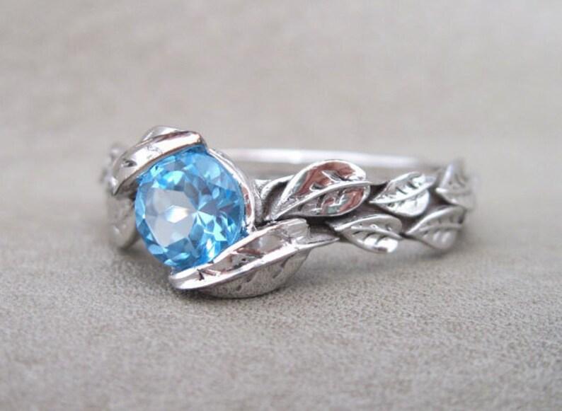 Leaf Ring Blue Topaz Leaf Engagement Ring In White Gold image 0