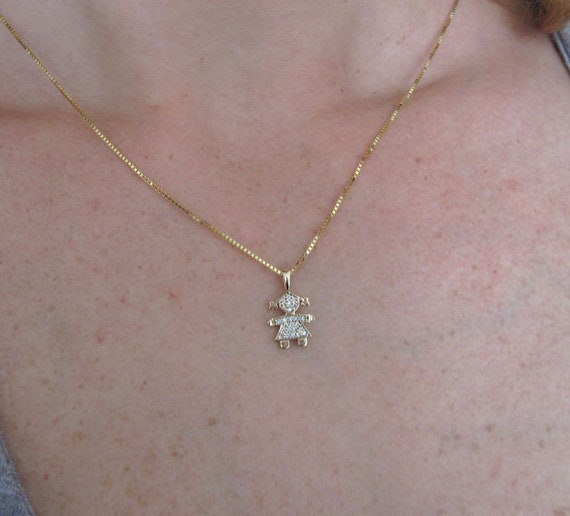 Gold Girl Baby Pendant Child Pendant 14k Solid Yellow Gold Etsy