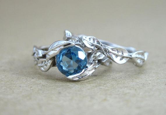 Leaf Engagement Ring Set Blue Topaz Wedding Ring Set Leaf Etsy