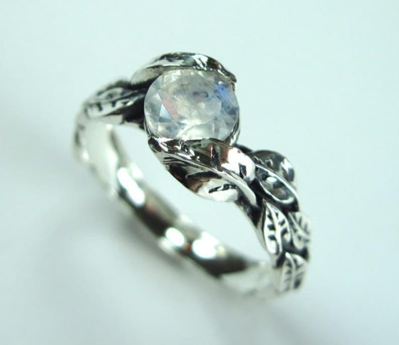 Leaf Ring With Moonstone White Gold Moonstone Leaf Ring image 0