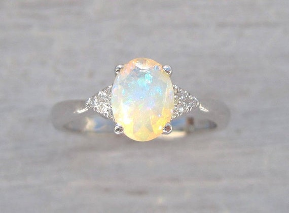 Opal Engagement Ring Antique Style Engagement Opal Ring Etsy