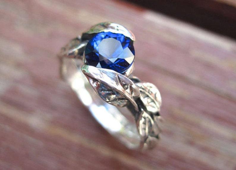 Blue Sapphire Leaf Ring Nature White Gold Leaf Engagement image 0