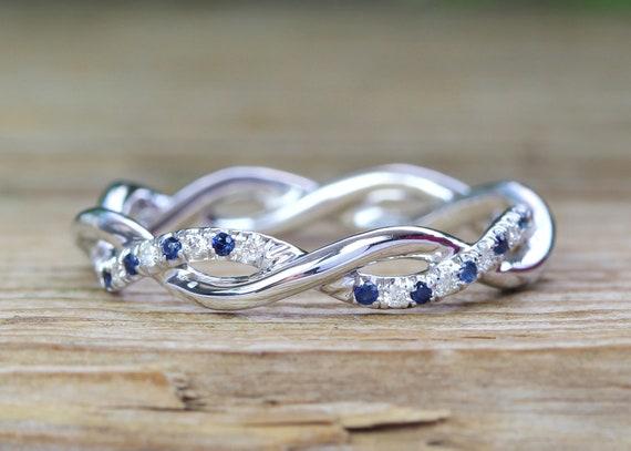 Sapphire And Diamond White Wedding Band Blue Sapphire Etsy