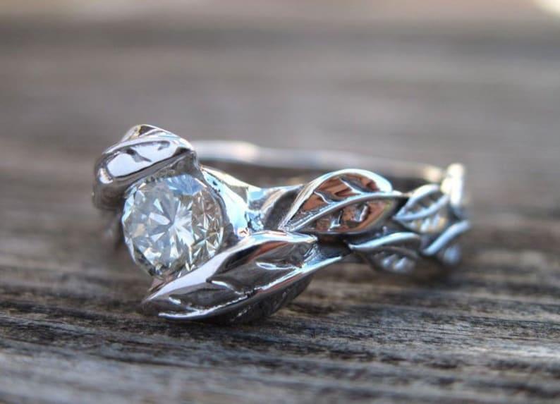 Leaf Diamond Engagement Ring Vintage Nature Inspired Diamond image 0
