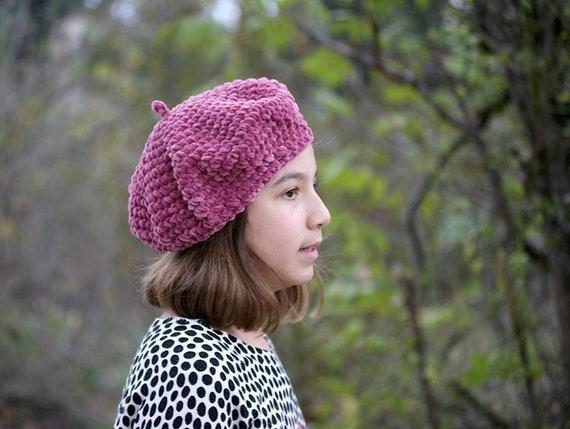 Rose beret velours Français fleur Crochet filles béret bonnet   Etsy 55868177e7a