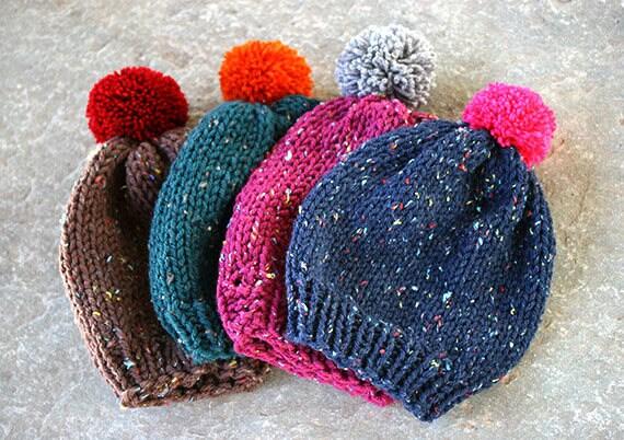 25744da8d5e Pom pom hat Pom pom beanie Knitted hat Beanie hat Slouchy