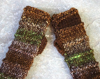 Bulky knit  gloves in shades of brown and green, knit fingerless gloves mittens, long glove mitten, arm warmers