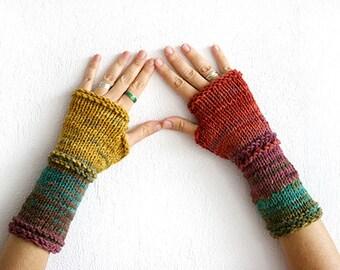 Fingerless gloves set in harvest colors, Fingerless gloves mittens, fingerless gloves woman, gloves man, fingerless gloves knit, Christmas