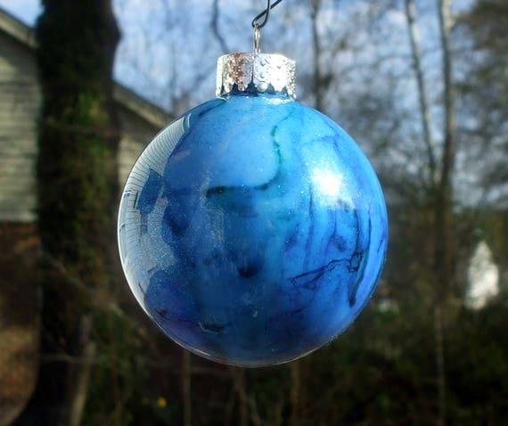 Christmas craft Homemade Christmas gifts Cobalt Blue New Home Hand Blown Glass Silver leaf Ornament Glass Ball Christmas trees decor
