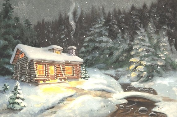 log cabin winter snow landscape 24x36 oils on canvas painting etsy