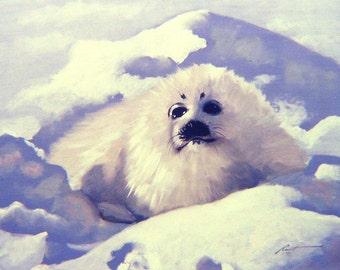 Seal 11 x 17 print (image 10.5 x 13.5)  by artist RUSTY RUST / S-10=P