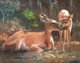Deer Doe Fawn 11 x 17 print (image 10.5 x 12.75)  by artist RUSTY RUST / D-88-P