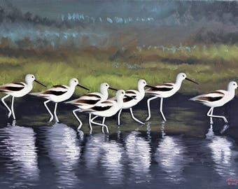 Avocets wildlife bird 24x36 (61 x 91 cm) oils on canvas by artist RUSTY RUST / A-127