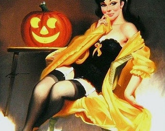 Halloween Pinup Girl 17 x 11 print (image 12.75 x 10.5)  by artist RUSTY RUST / 111-P