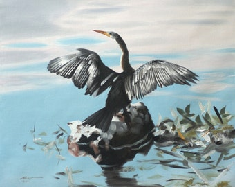Anhinga, snake bird, wildlife oil on 20x24 canvas painting by RUSTY RUST / A-103