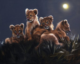 "LION kittens print by RUSTY RUST 11"" x 17"" heavy paper, 11"" x 13.5"" appx. image size / L-158-P"