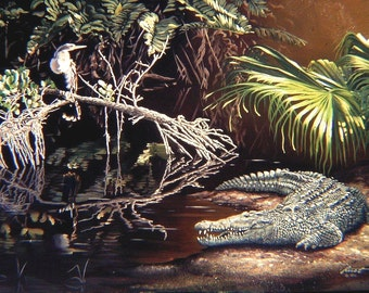 Crocodile Anhinga 11 x 17 print (image 10.5 x 16) by artist RUSTY RUST / C-38-P