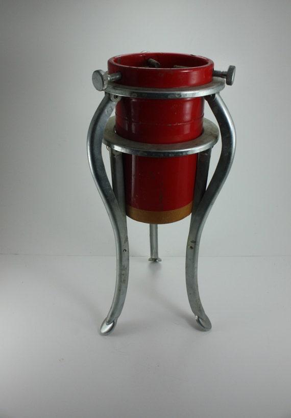 Vintage Christmas Tree Stand.Vintage Christmas Tree Stand Holder Metal Red Silver Original Box Mid Century Retro Industrial