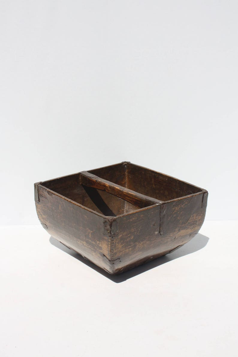 Antique Furniture Vintage Wooden Trug With Wrought Iron Mounts