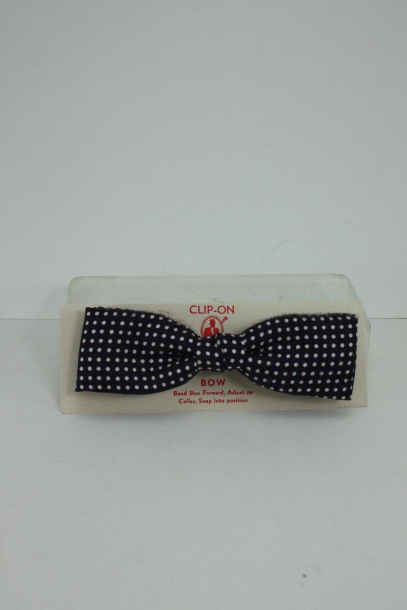 Vintage Clip On Bow Tie Brown With White Polka Dots Wedding Accessory Rockabilly In Original Box