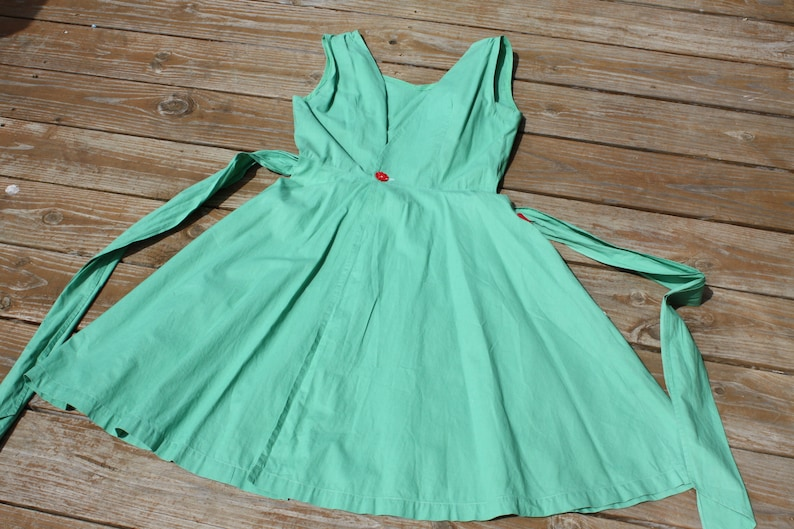 Vintage Apron Dress Sundress Pinafore Jumper Green Cotton Front Pockets Tulip Floral Applique Summer Garden Party Handmade Hand Crafted 50s