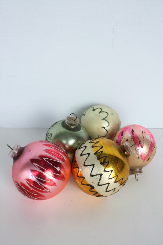 Vintage Glass Christmas Ornaments West Germany Hand Painted Hand Made Mica Glitter Christmas Holiday Party Tree Trimming Decor Mid Century