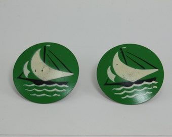 Vintage Metal Floral Curtain Tie Backs Pin Back Green Nautical Sailboat 2 Pieces
