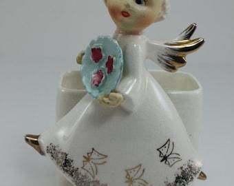 Vintage Angel Planter Angel Figurine White Gold Ceramic Baum