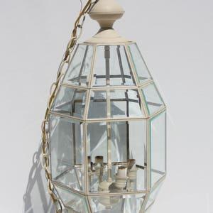 Vintage Beveled Glass Lantern Style Chandeliers