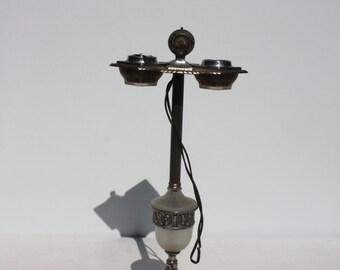 Vintage Smoking Stand Ashtray Chrome Opaque Glass Light Up Art Deco Smoking Tobacciana