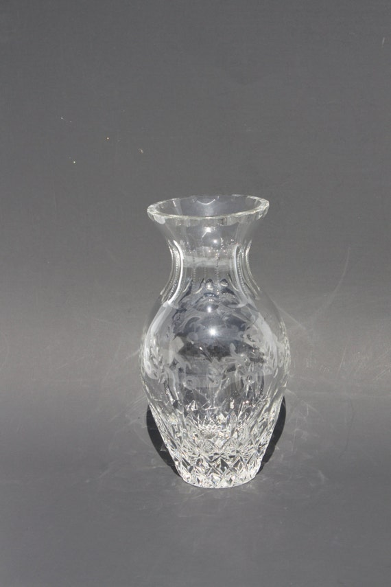 Vintage Rogaska Gallia Crystal Flared Vase Leaded Etched Glass Etsy