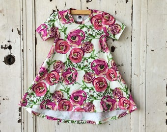 Girl's Tshirt Dress Dress - Girl's Floral Knit Dress - Girls hi low Dress