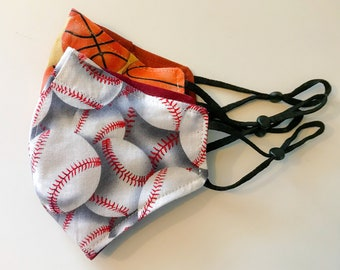 Basketball Baseball Face Mask, cloth face cover, two layer cotton, adjustable elastic ear, face wear, filter pocket mask, nose wire mask,