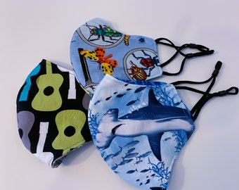 Boys Face Coverings, Masks for face, face coverings, fun print masks, soft ear spandex, accessories, filter pocket, removable nose wire