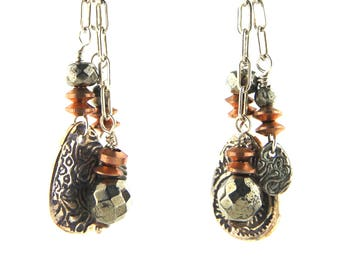 Pyrite and Copper Fine Silver Earrings