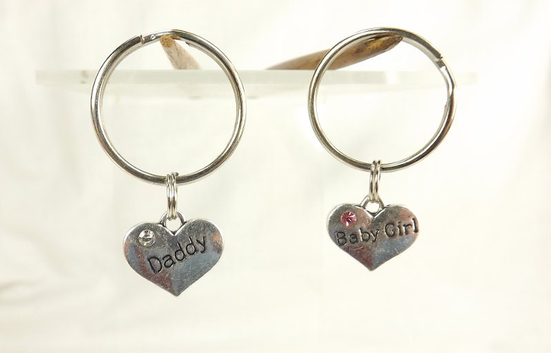 Bdsm Gift Baby Girl Daddy combo keychain Submissive Gift ddlg  babygirl bdsm Sub Dom Heart Key Chains - product image