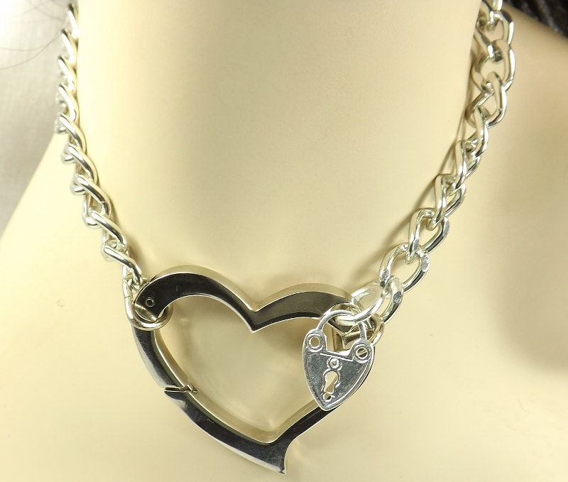 Day Collar Chain Choker BDSM Day Collar discreet Huge Heart Love slave jewelry heart collar bdsm collar submissive jewelry - product image