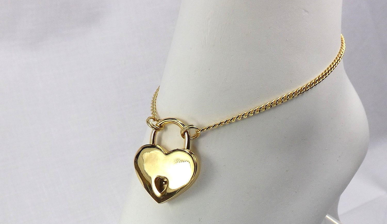 Gold Heart Lock anklet bdsm jewelrygift for her submissive ankle bracelet locking jewelry - product image