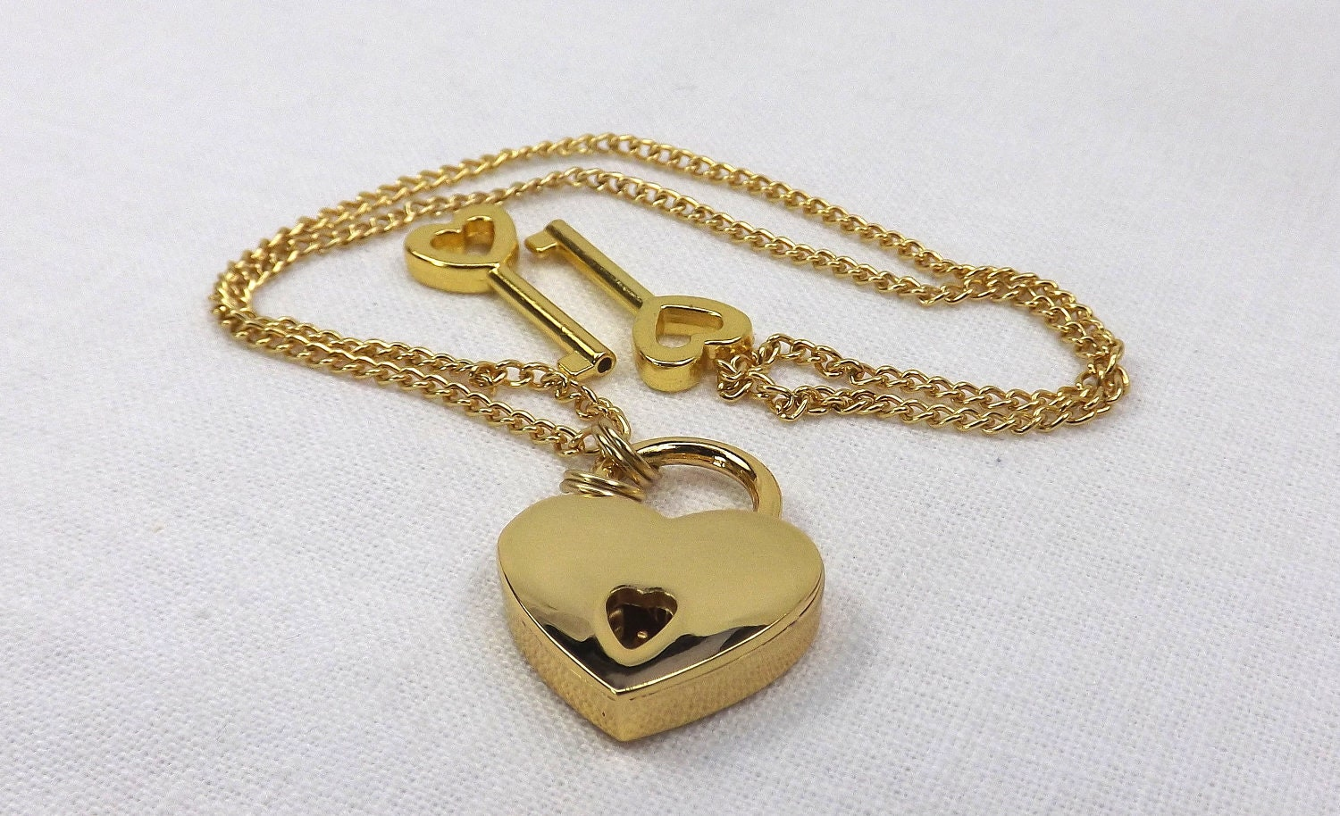Locking Jewelry Gold color heart lock necklace gift for her submissive locking jewelry - product images  of
