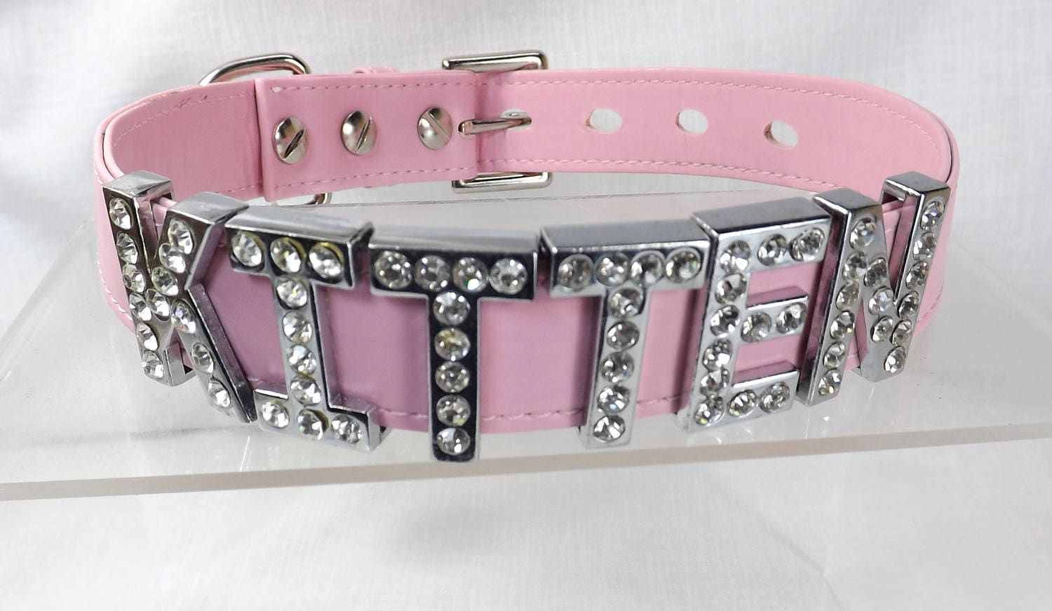 kitten play collar bdsm locking slave collar with lock Rhinestone letters ddlg pet play collar submissive collar kitten choker - product image