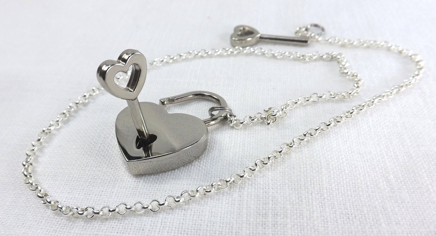 discreet day collar submissive collar heart lock slave collar submissive jewelry lock and chain choker - product image