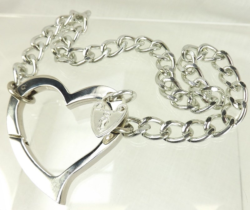 Day Collar Chain Choker BDSM Day Collar discreet Huge Heart Love slave jewelry heart collar bdsm collar submissive jewelry - product images  of