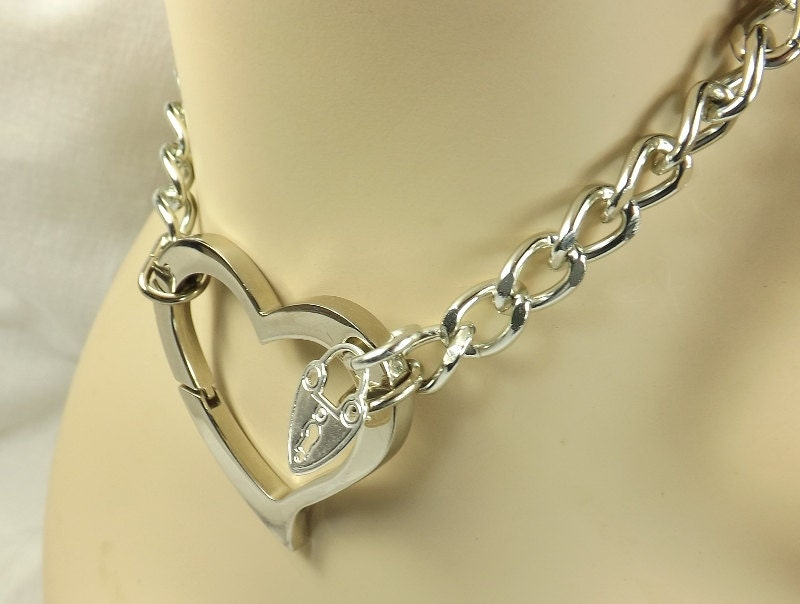 Gold Chain Choker Huge Heart bdsm day Collar discreet submissive jewelry bdsm bondage collar bdsm choker - product images  of