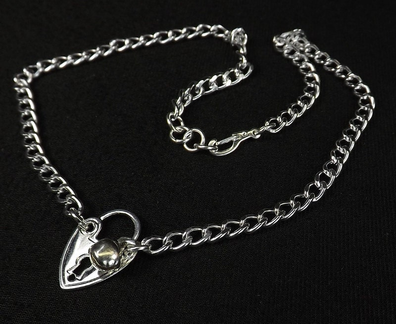 Heart Choker Necklace day collar discreet heart lock charm slave bell necklace submissive jewelry - product images  of