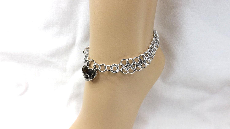 Locking Anklet Silver Heart Lock Ankle Bracelet bdsm jewelry bdsm anklet gift for her - product image