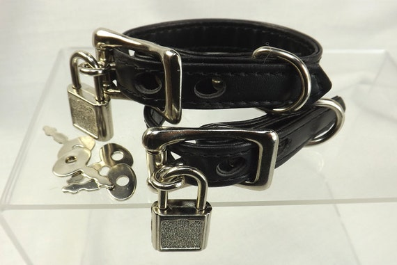 Locking Wrist Restraints Locks Bdsm Cuffs Black Leather  Etsy-6145